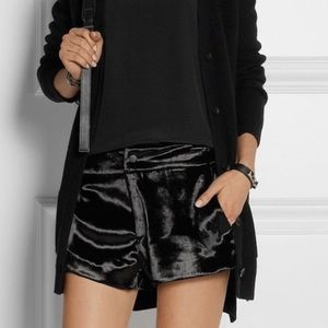 Rag & Bone Black Velvet High Waisted Nesi Shorts